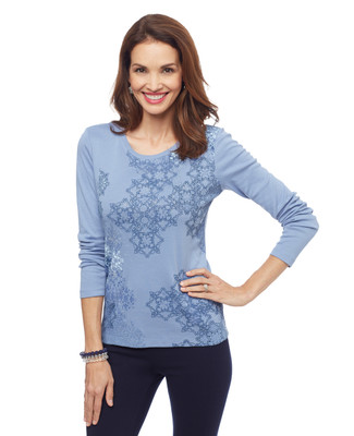 Women's thistle blue abstract snowflake graphic long sleeve crew neck tee