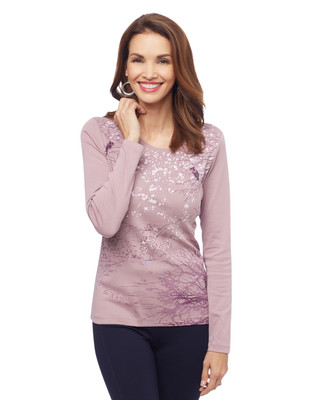 Woman's pink winter scenic graphic tee