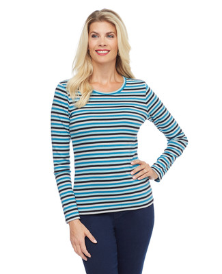 Woman's striped long sleeve crew neck tee