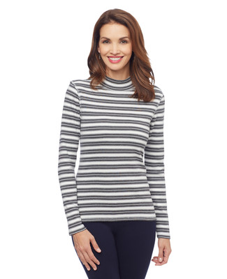 Women's striped mock neck tee