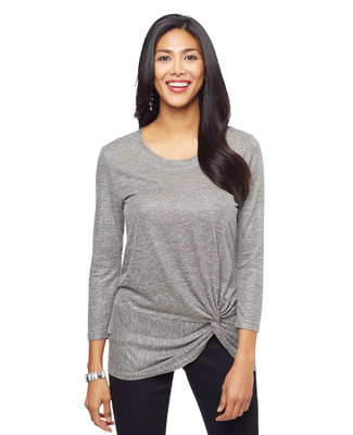 Woman's silver three quarter sleeve knot detail top