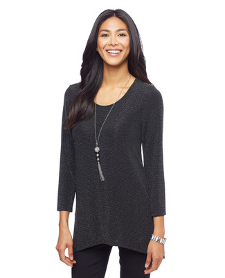 Woman's black glitter three quarter sleeve sharkbite hem top