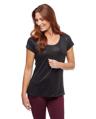 Woman's black glitter short sleeve blouse