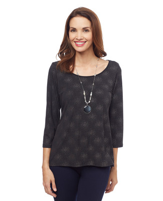 Woman's black long sleeve tunic top