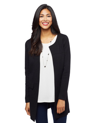 Woman's black open front sweater jacket
