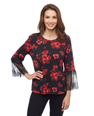 Woman's black lace bell sleeve flower blouse
