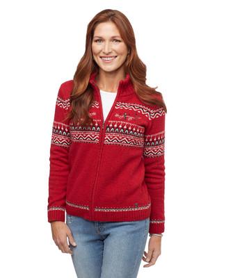 Woman's red cardinal zip up cardigan sweater