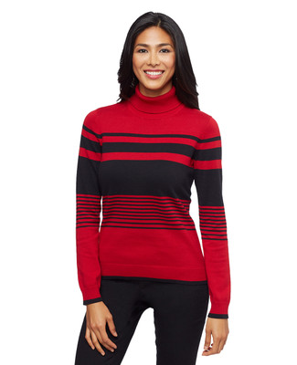 Woman's red and black striped turtleneck sweater