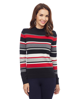 Woman's black striped mock neck sweater