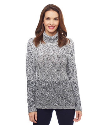 Woman's black and grey ombre knitted sweater