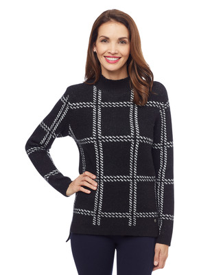 Woman's black plaid mock neck sweater