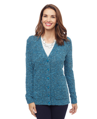 Woman's teal blue boucle yarn cardigan with pockets