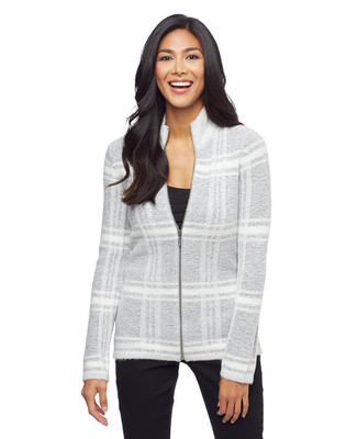 Woman's grey plaid zip up cardigan sweater