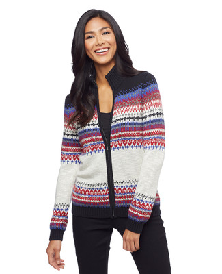 Women's multi colour jacquard cardigan sweater