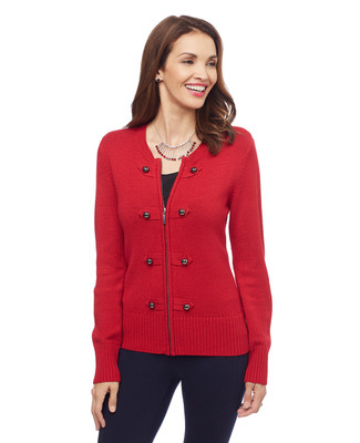 Woman's zip up military cardigan sweater