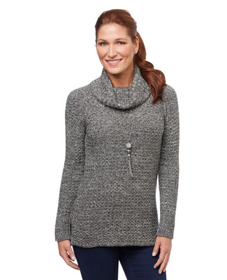 Women's basket weave cowl neck sweater