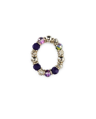 Women's dark thistle and iridescent stretch bracelet
