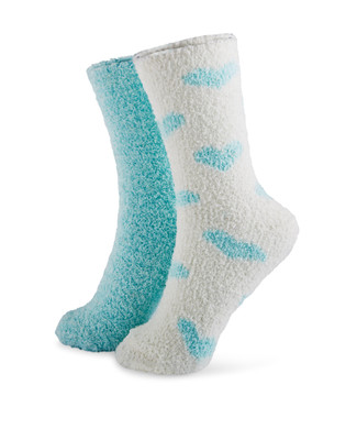 Two pack aqua blue lurex cozy socks