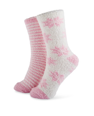 Two pack pink lurex cozy socks