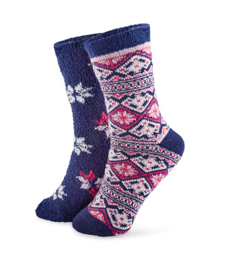 Two pack snowflake jacquard cozy socks