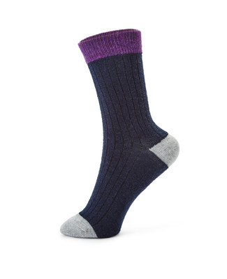 Women's angora boot socks with colour block
