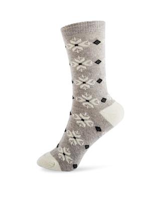 Light grey snowflake patterned jacquard wool boot socks