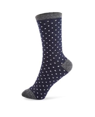 Wool polka dot navy blue boot socks