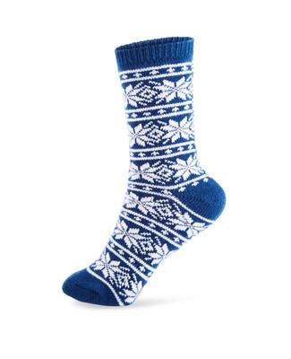 Women's navy jacquard boot socks