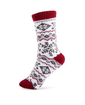 Women's red jacquard boot socks