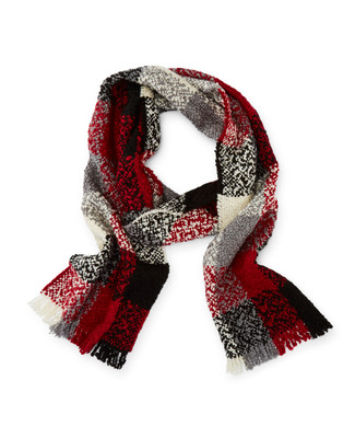 Women's red buffalo check boucle scarf