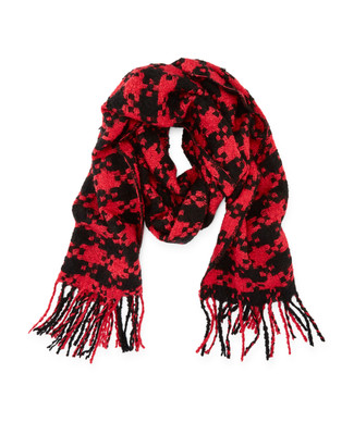 Women's black and red houndstooth boucle scarf with fringes