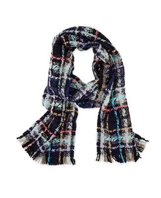 Women's navy blue plaid boucle scarf
