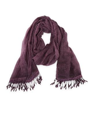 Women's plum purple shoulder scarf with lace trim