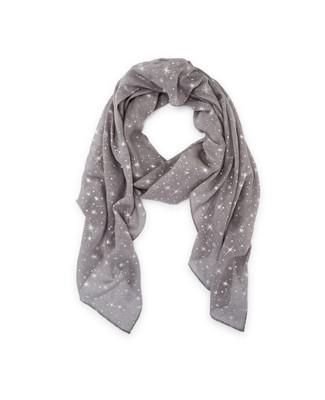 Women's light grey silver foil star scarf