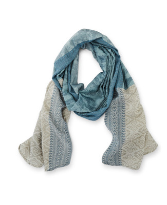 Women's teal blue patchwork scarf