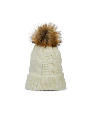 Women's vanilla white cable knit hat with faux fur pom pom