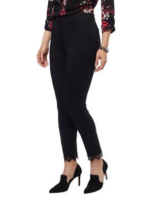 Women's black lace hem pants