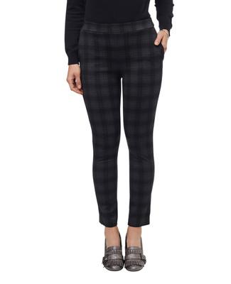 Women's black plaid pull on pants