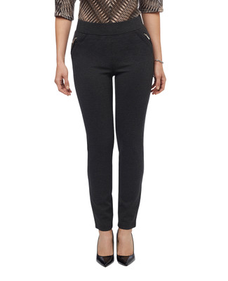 Women's black pull on pants with zippers at hip