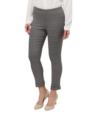 Women's light grey plaid slim pull on pants