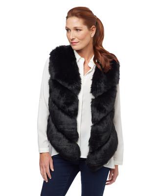 Women's black faux fur vest with chevron pattern