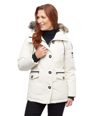 Women's vanilla white arctic down parka with faux fur hood trim