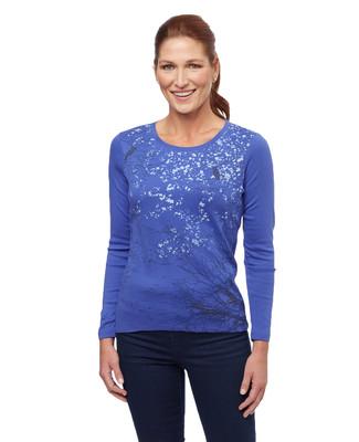 Women's blue snow falling graphic print long sleeve  tee
