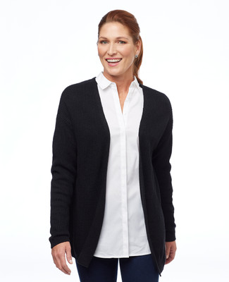 Women's black open cardigan with lace up back
