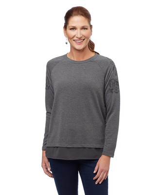 Women's grey embellished sweater with back pleat
