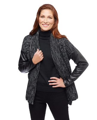 Women's black marled sweater jacket with faux leather sleeves