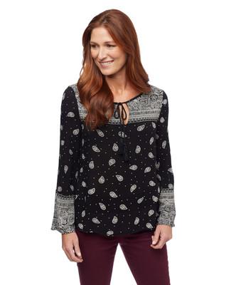Women's black paisley printed boho blouse