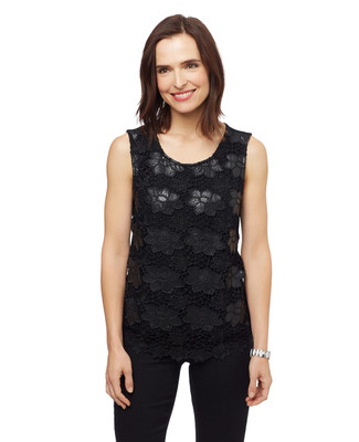 Women's black sleeveless crochet lace top