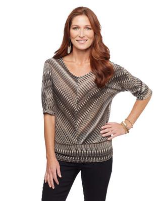 Women's black lurex striped sweater knit top