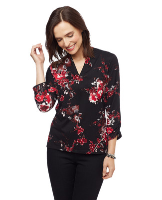 Women's black three quarter sleeve V-neck floral blouse